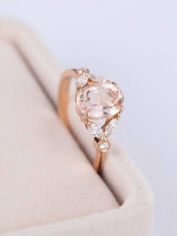 Rose Gold Engagement Ring Vintage Morganite Engagement Ring Women