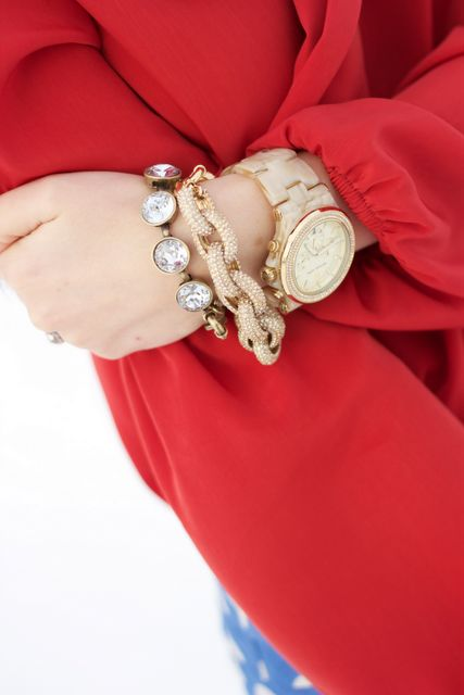 ARM PARTY! watch: Marc by Marc Jacobs, pave link bracelet at J. Crew