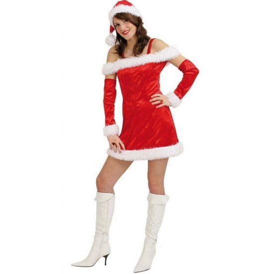 Sexy kerstjurkje voor dames. Dit sexy kerst kostuum voor dames bevat een rood fluwelen jurkje met wit bont, rode arm sleeves met wit bont en een kerstmuts.Kerst kostuums bij Fun en Feest #kerstjurkjes