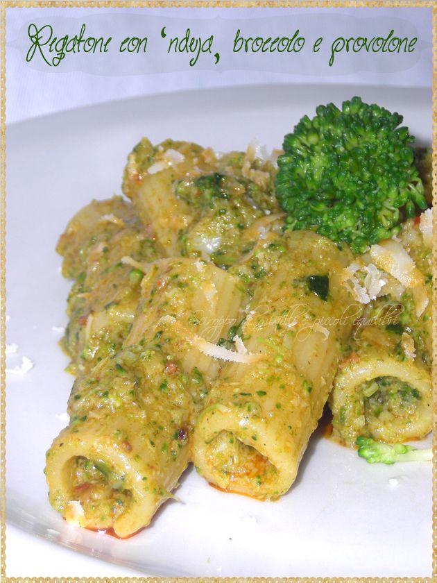 Rigatoni con 'nduja, broccolo e provolone