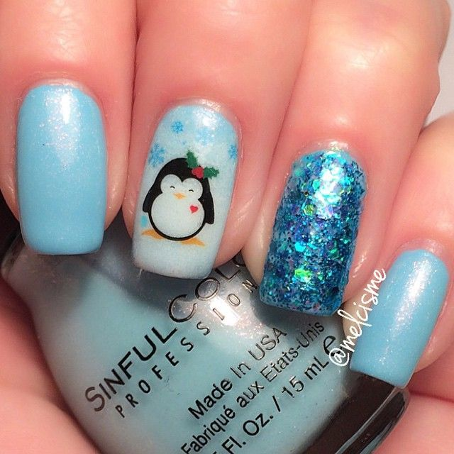 Winter scene nail art, penguin & snowflakes.  Photo taken by meƖıssɑ ❤︎ - INK361
