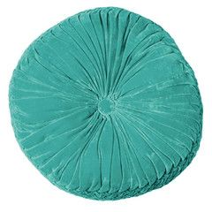 Velvet vintage inspired round cushions - teal