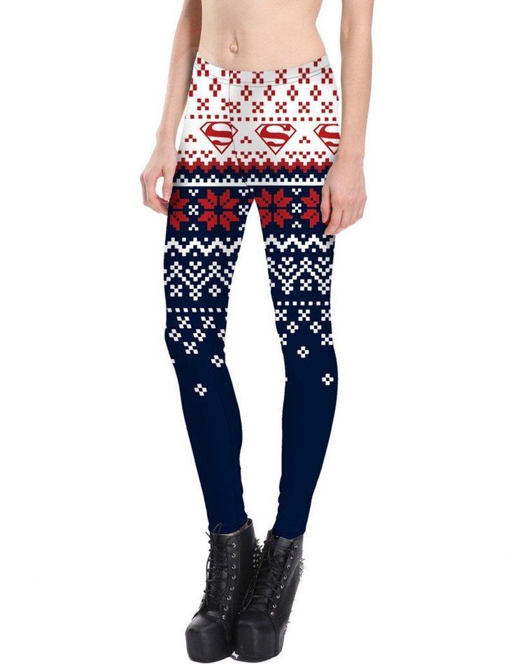 Super Hero Snowflake Print Christmas Tights Colorblock Womens Leggings