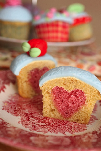 such a fun surprise: Idea, Sweet, Recipe, Valentines, Food, Cup Cake, Heart Cupcakes, Valentine S, Dessert