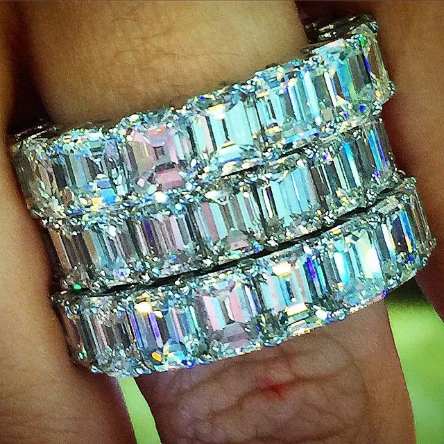 Emerald cut eternity band stack