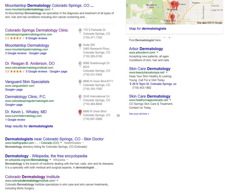 "Infront Webworks client Colorado Dermatology Institute ranking first page of Google under term ""Colorado Springs Dermatologists""."