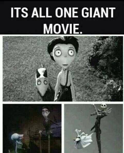 The 'Burton Theory' - a theory where frankenweenie, vincent, edward scissorhands, beetlejuice, nightmare before christmas, and corpse bride are connected. read it here.