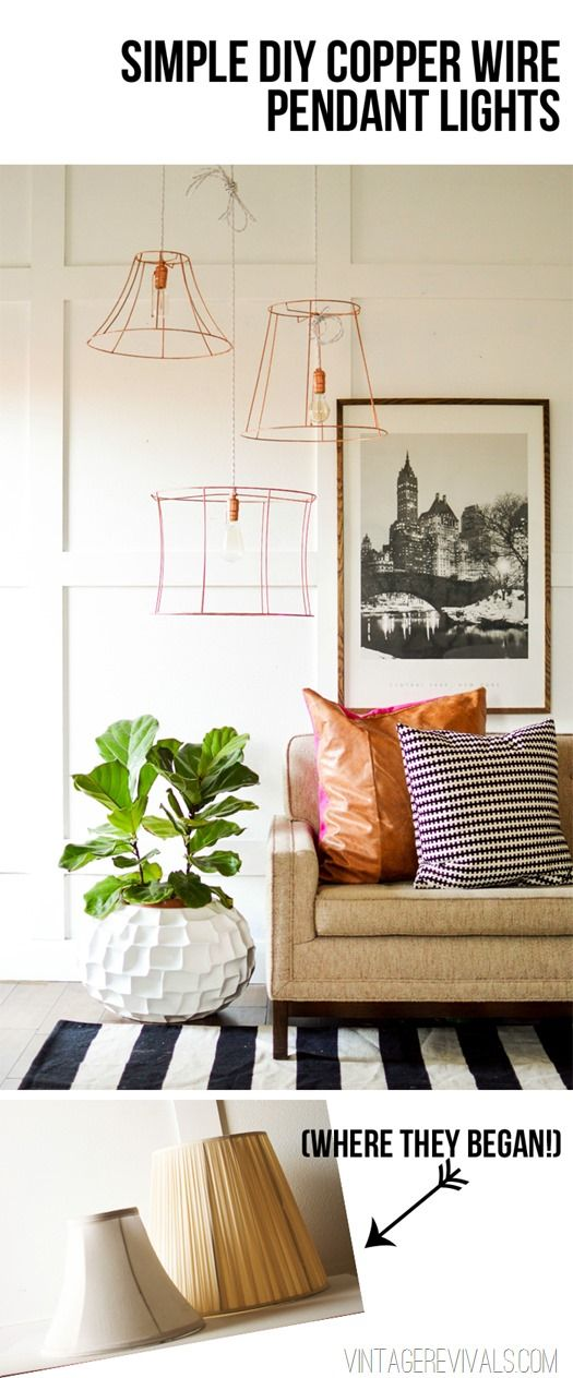 Rock What Ya Got: Upcycled Copper Wire Pendant Lights (from ugly lampshades!)  This is doable for even beginner DIYers!