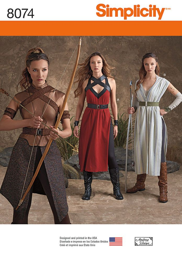 Be the heroine of your story with these costumes in misses sizes 6 to 22. Pattern features outfits in three styles that include dresses with accessory harnesses, arm and wrist bands, belts, leggings, overskirts and more.