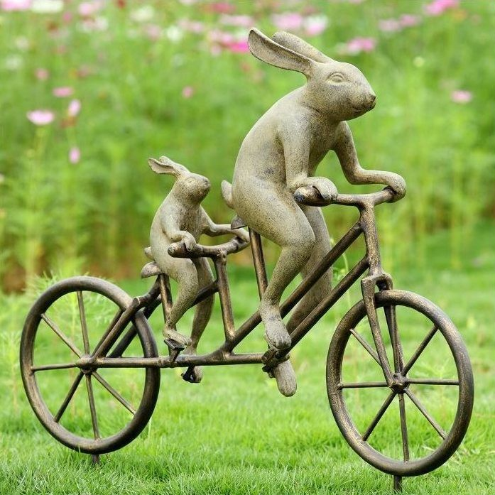Tandem Bicycle Bunnies Garden Statue | 33862 | Bicycle Decor And Rabbit  Sculpture
