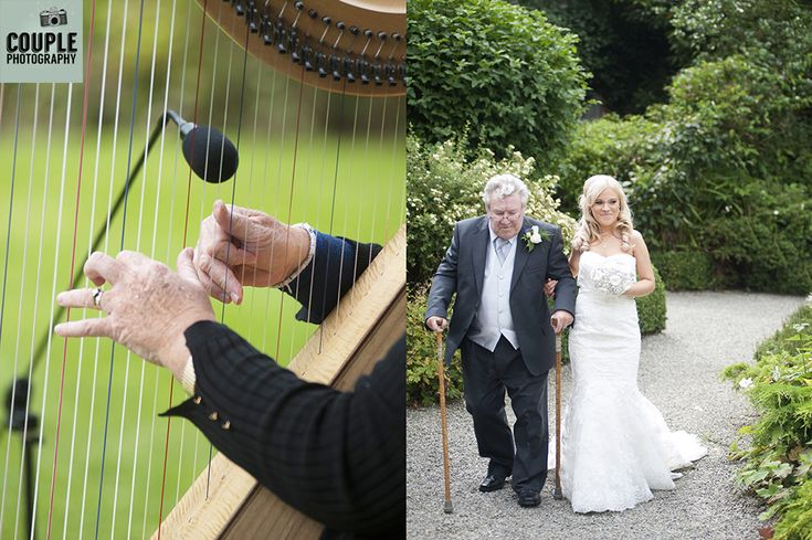 The bride is walked down the aisle by her father. Weddings at Rathsallagh House…