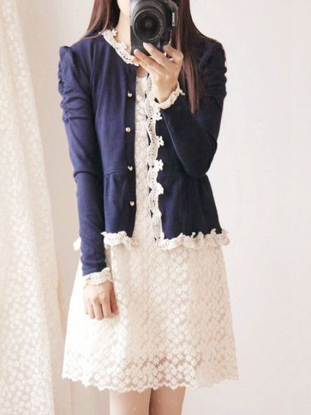 Size:One Size(Regular) Color: Black, Dark Blue Detail in Tile Measurement: Length:52cm, Bust:80-92cm, Sleeve:60cm, Shoulder:36cm Please write note for size and color when ordering.  This cardigan is Japanese style, puff sleeve and single-breasted design, decoration with lace.