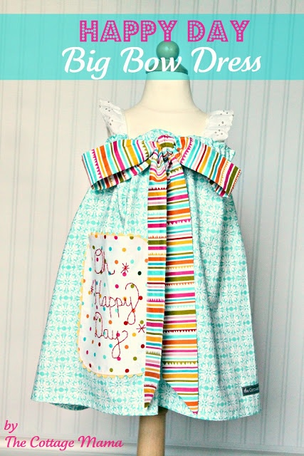 The Cottage Home: Happy Day Big Bow Dress ~ Pattern and Tutorial I think this dress would look even better with a huge bow. White dress with a huge black or red bow for a little older girl would be fabulous. I'll post it when I make it for my Airy.