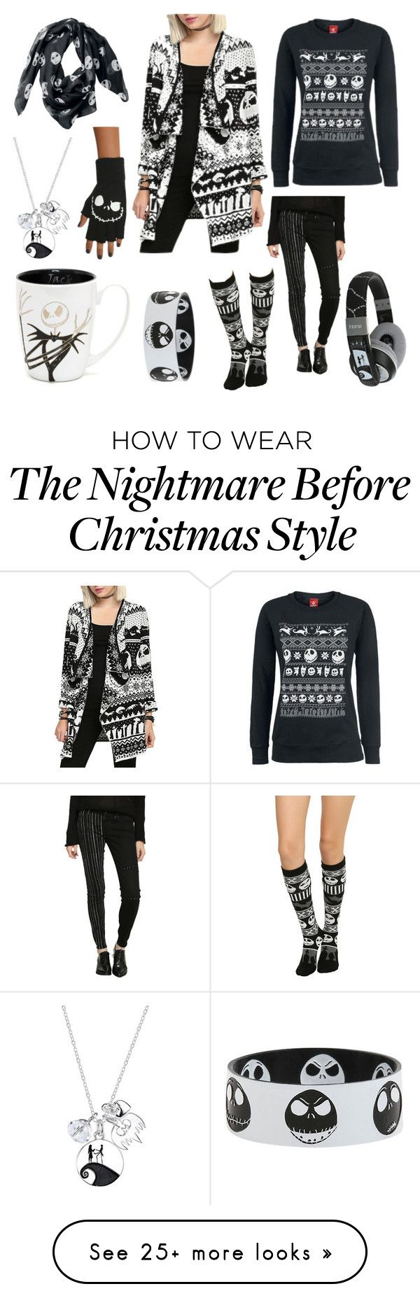 """The Nightmare Before Christmas Stuffs/Outfit"" by ku-chan on Polyvore featuring moda, Disney, blackandwhite, movie, skeletons y Thenightmarebeforechristmas"
