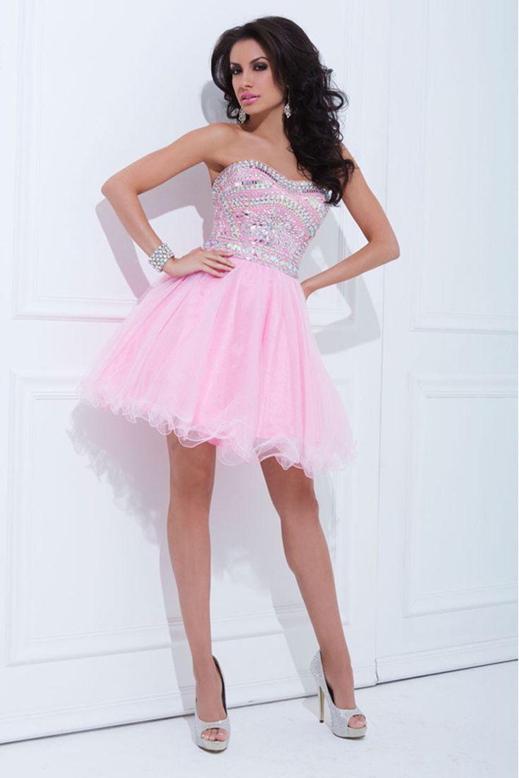 2014 Tulle Prom Dress Strapless A Line Short/Mini With Rhinestone Pink http://www.lovingdresses.com/Grade-8-Grad-Dresses/9
