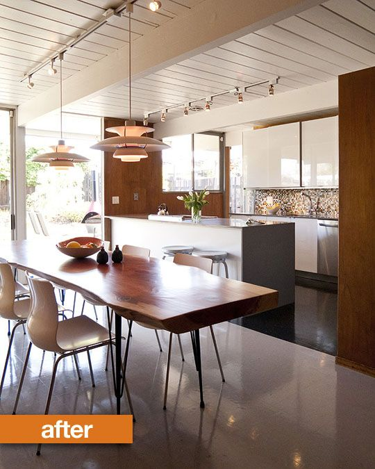 love the ceiling and the raw edge table and all the wood