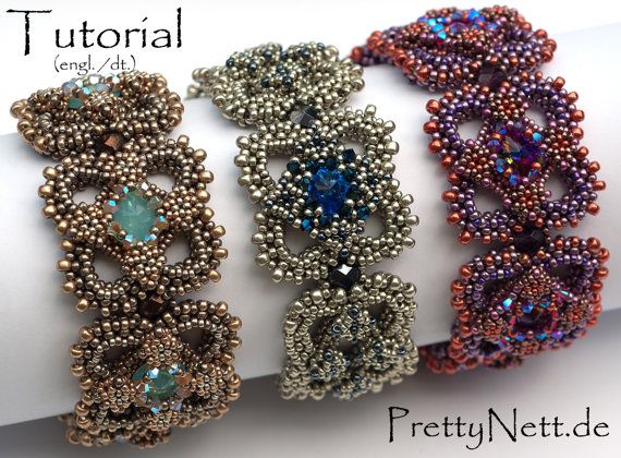 Beading Pattern Beading Tutorial for bracelet Carré by PrettyNett