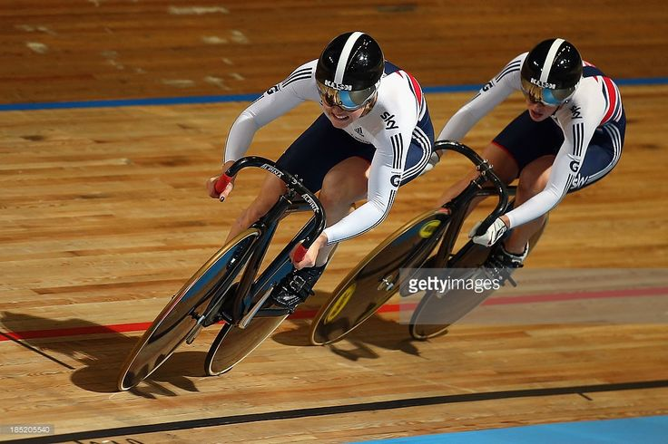 Jessica Varnish of Great Britain leads team mate Rebecca James during the Women's Sprint Qualifying during day one of the 2013 European Elite Track Championship at Omnisport Apeldoorn on October 18, 2013 in Apeldoorn, Netherlands.