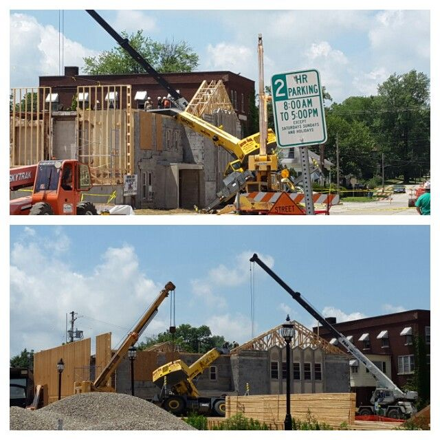 Not a good way to start a Monday.  Construction site at First United Methodist Church in Robinson, Illinois.  July 14, 2014