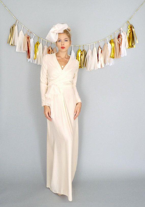 Vivienne long sleeve v neck boho romantic wrap wedding for Long sleeve blush wedding dress