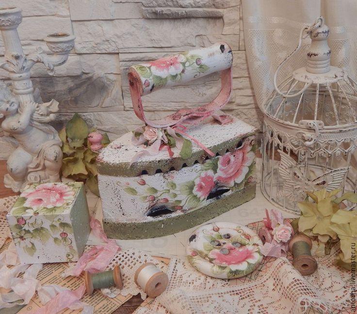 """Купить Утюг """"Miniature Rose"""" - белый, утюг, винтаж, ретро, мастерская, подарок, чугунный утюг"""