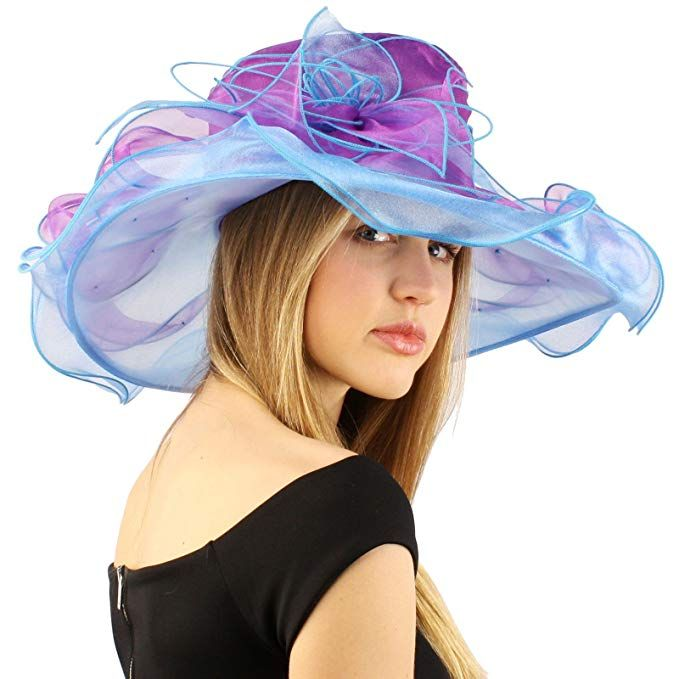 Women Kentucky Derby Church Dress Fascinator Wide Brim Tea Party Wedding Organza Hats S042b