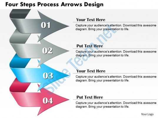 0714 business consulting four steps process arrows design powerpoint slide template Slide01
