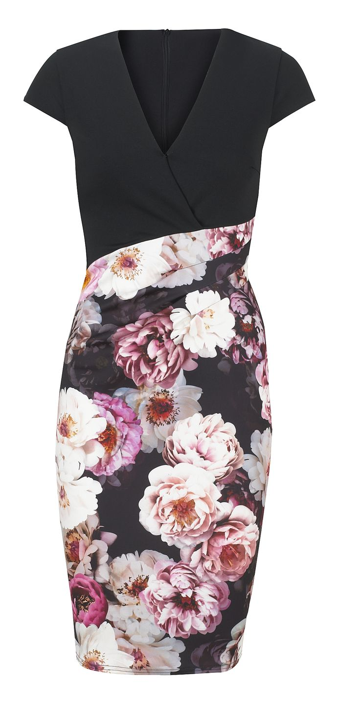 Jessica Wright Joley Multicoloured Floral V-neck Multicoloured Bodycon Dress £65.00 http://www.sistaglam.co.uk/jessica-wright-dresses/jessica-wright-joley-multicoloured-floral-v_neck-multicoloured-bodycon-dress-1766