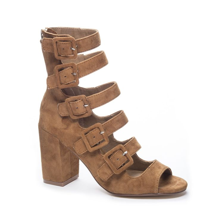 Chinese Laundry Women's Twilight Suede Dress Sandal, Camel, 9 M US. Multi strap zip up dress peep toe sandal/shootie.