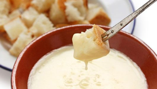 The biggest trick to making great fondue is creating a cheesy-gooey texture that is just right for dipping. Try this 15-minute brie and champagne fondue. #recipe #vegetarian #fondue