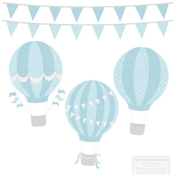Soft Blue Hot Air Balloons Clipart With Digital Papers