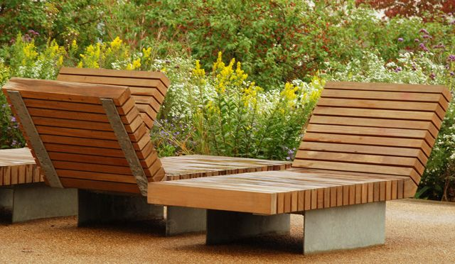 Wooden loungers, Queen Elizabeth Olympic Park, Stratford