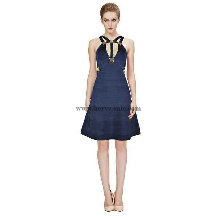 Herve Leger Deep Blue Multi Straps Metallic details Bandage Dress HL679DB