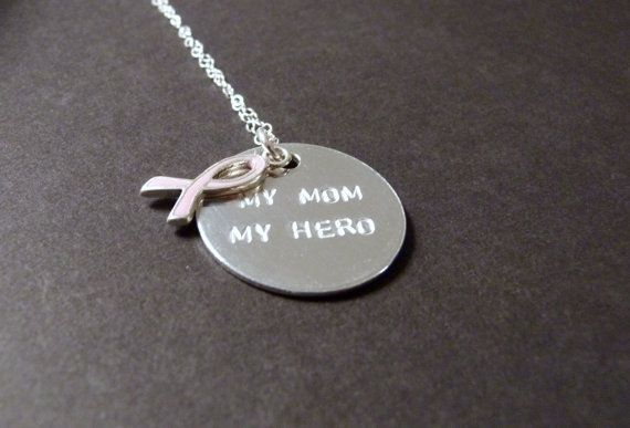 My mom my hero necklace breast cancer jewelry friend sister