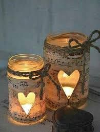 decoupage musical note jar luminaries