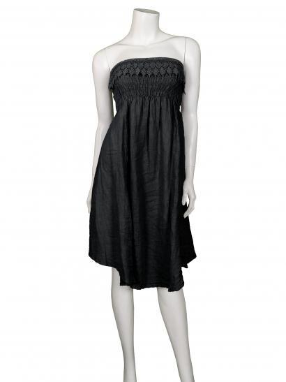 Damen Bandeau Kleid / Rock aus Leinen, schwarz