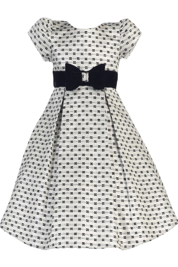 Silver Jacquard Bow Print Holiday Dress with Black Velvet Trim (Girls 6 months - Size 12)