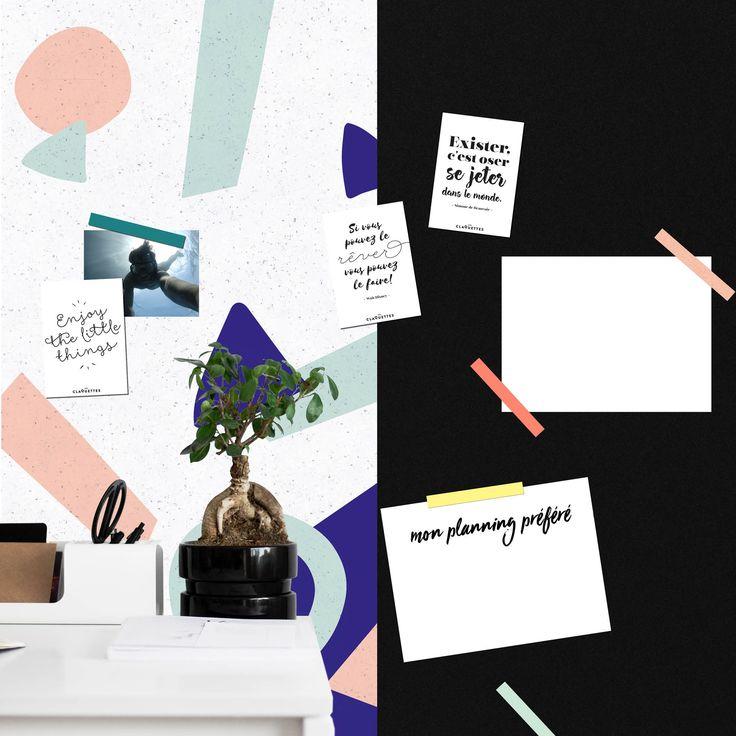 créez votre propre moodboard à la maison! les papiers peints Les Claquettes sont magnétiques, accrochez vos photos et d'autres magnets. #ardoisewallpaper #ardoise #murnoir #magnetci #magneticwall