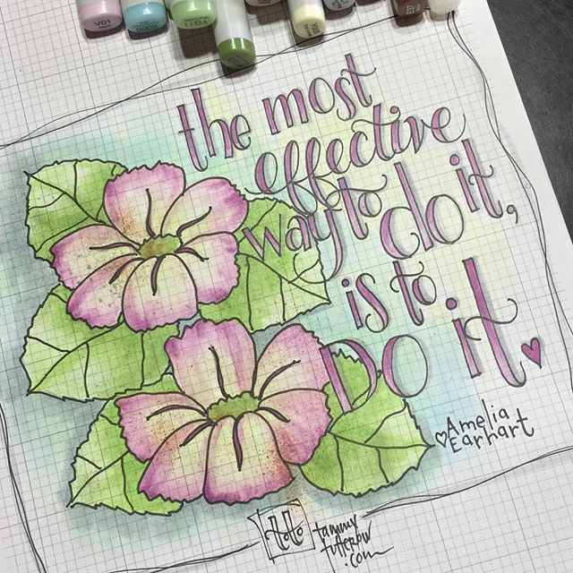 Lettering and coloring practice today features a great quote by Amelia Earhart. It reminds me of a chat last night with a friend... it's time to do it and chase that dream!