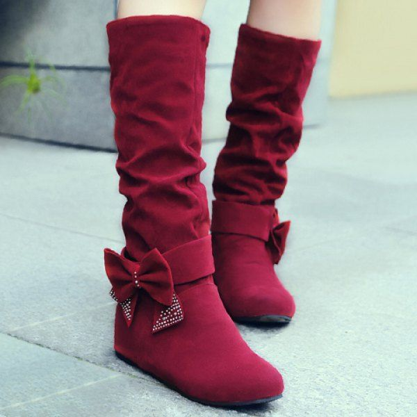 Graceful Bow and Suede Design Women's Mid-Calf Boots