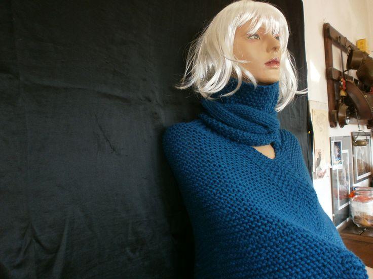 poncio e collo in lana