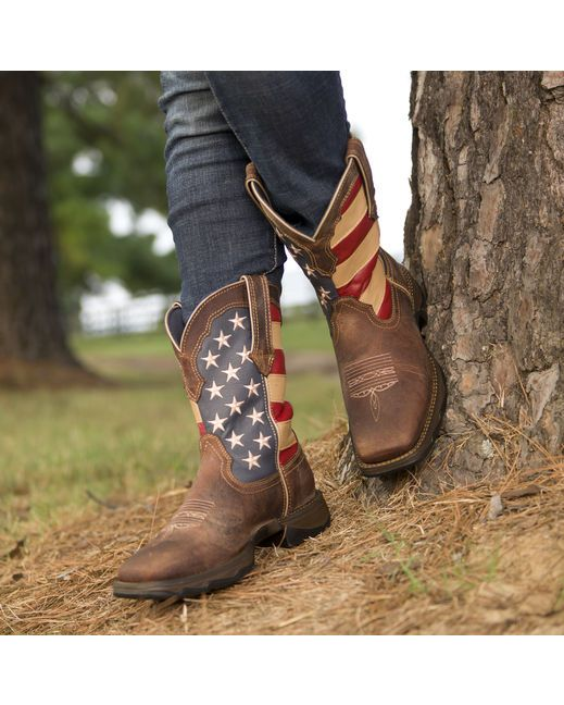 This Lady Rebel by Durango Western will be the most attention-grabbing item in your closet. The stunning upper has the American flag on the shaft, full-grain brown leather that looks fashionably distressed, toe bug stitching and pull tabs that make it possibly to get this pull-on boot on/off effortlessly ... I can't believe these boots are only $130 ... LOVE 'em and ordering now!!!