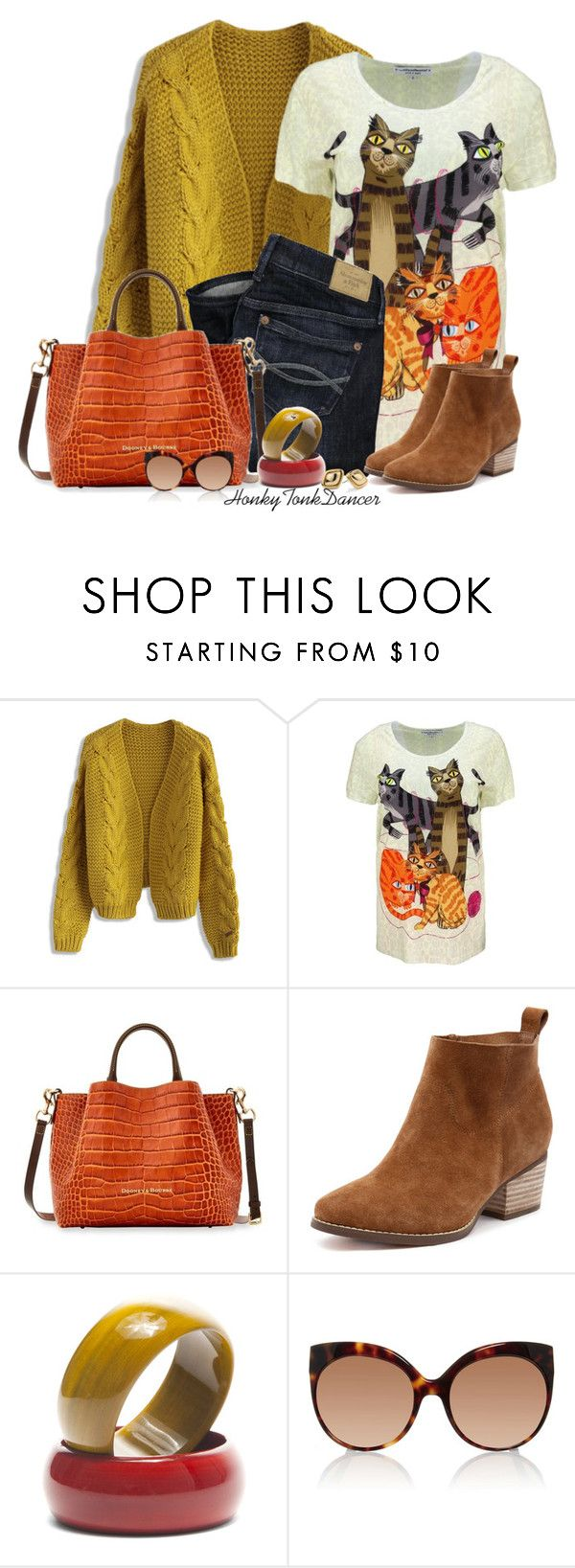 """Cat Print Tshirt"" by honkytonkdancer ❤ liked on Polyvore featuring Chicwish, Abercrombie & Fitch, Dooney & Bourke, Linda Farrow, Chico's, casualoutfit, FallColors and catprint"