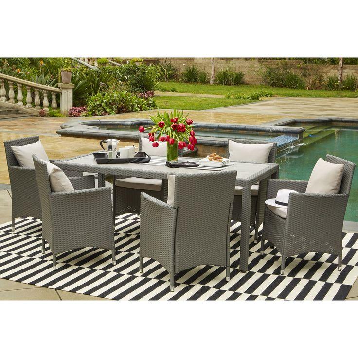Portfolio Aldrich Indoor/Outdoor 7 Piece Rectangle Dining Set with Cushions , Patio Furniture