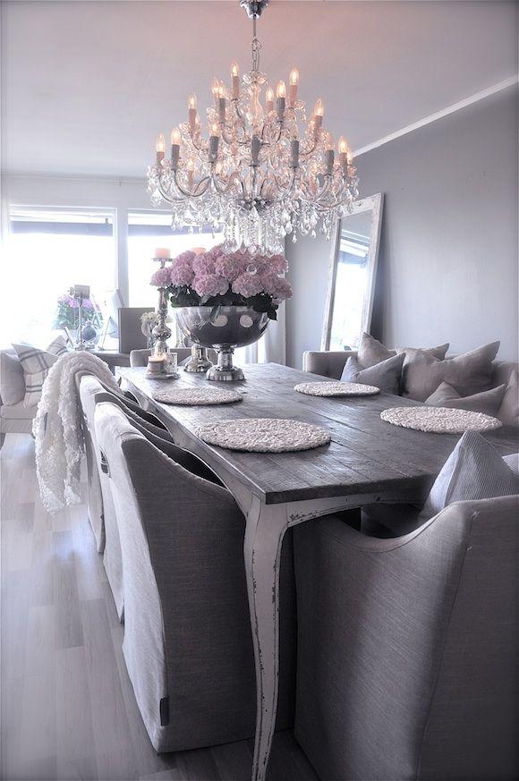 Dining Room Table White Legs, Dark Top