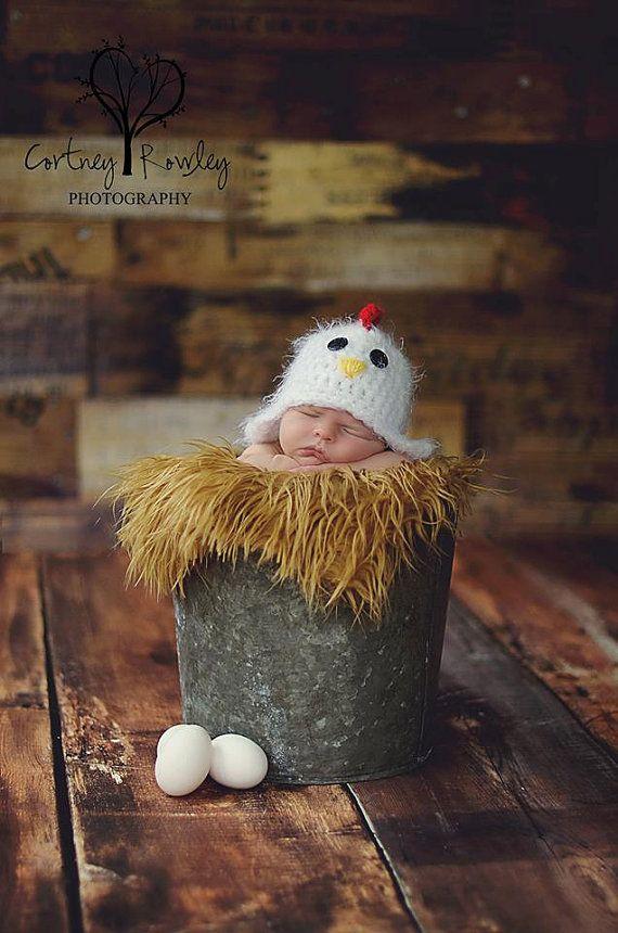 Newborn Crochet Chicken Hat Pattern : Newborn chicken hat - photography prop - rooster hat ...