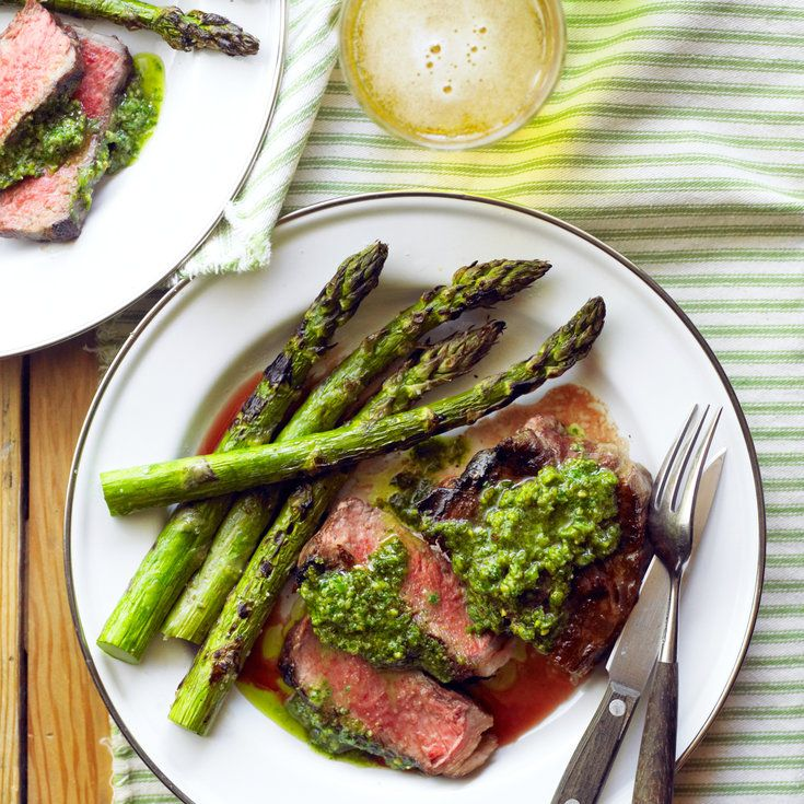Rib-Eye Steaks with Pistachio Butter and Asparagus - Quick & Easy Summer Dinner Recipes - Sunset