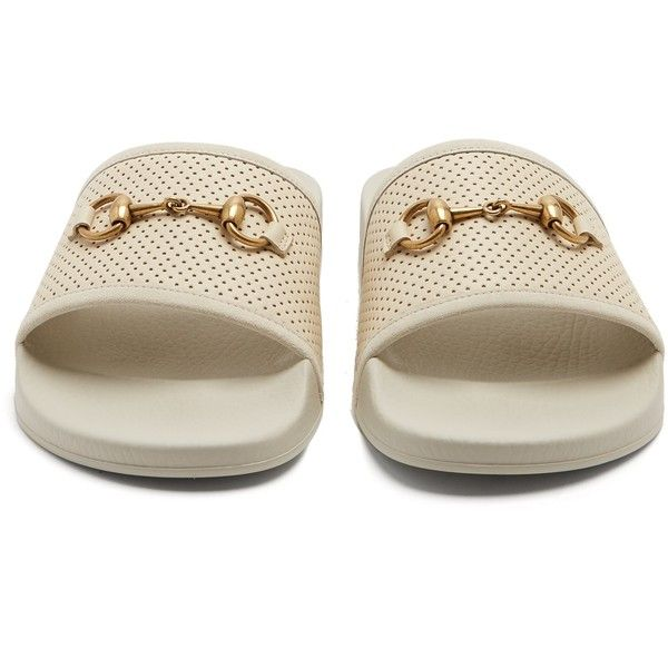 Gucci Horsebit perforated-leather slides (£315) ❤ liked on Polyvore featuring men's fashion, men's shoes, men's sandals, mens leather sandals, gucci mens shoes, mens perforated leather shoes, mens white leather sandals and mens white sandals