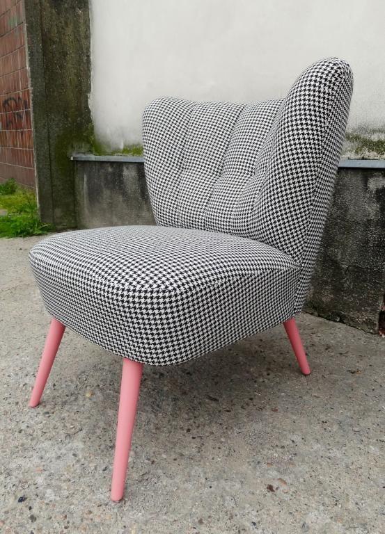 Wyjątkowy fotel vintage loft klubowy pepita