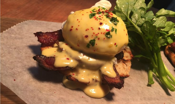 Lamb Bacon Benedict With Duck Hollandaise